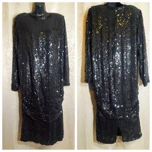 Vintage Judith Ann Sequins Black Dress sz L Beaded